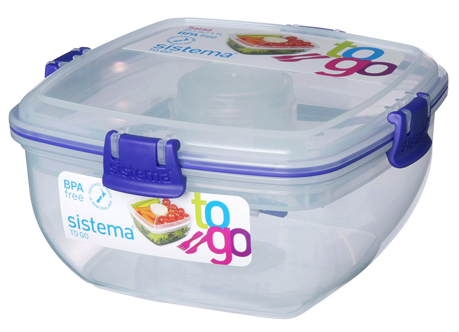 sistema klip it 37 oz salad to go container clear lunch dressing food fork new ebay. Black Bedroom Furniture Sets. Home Design Ideas
