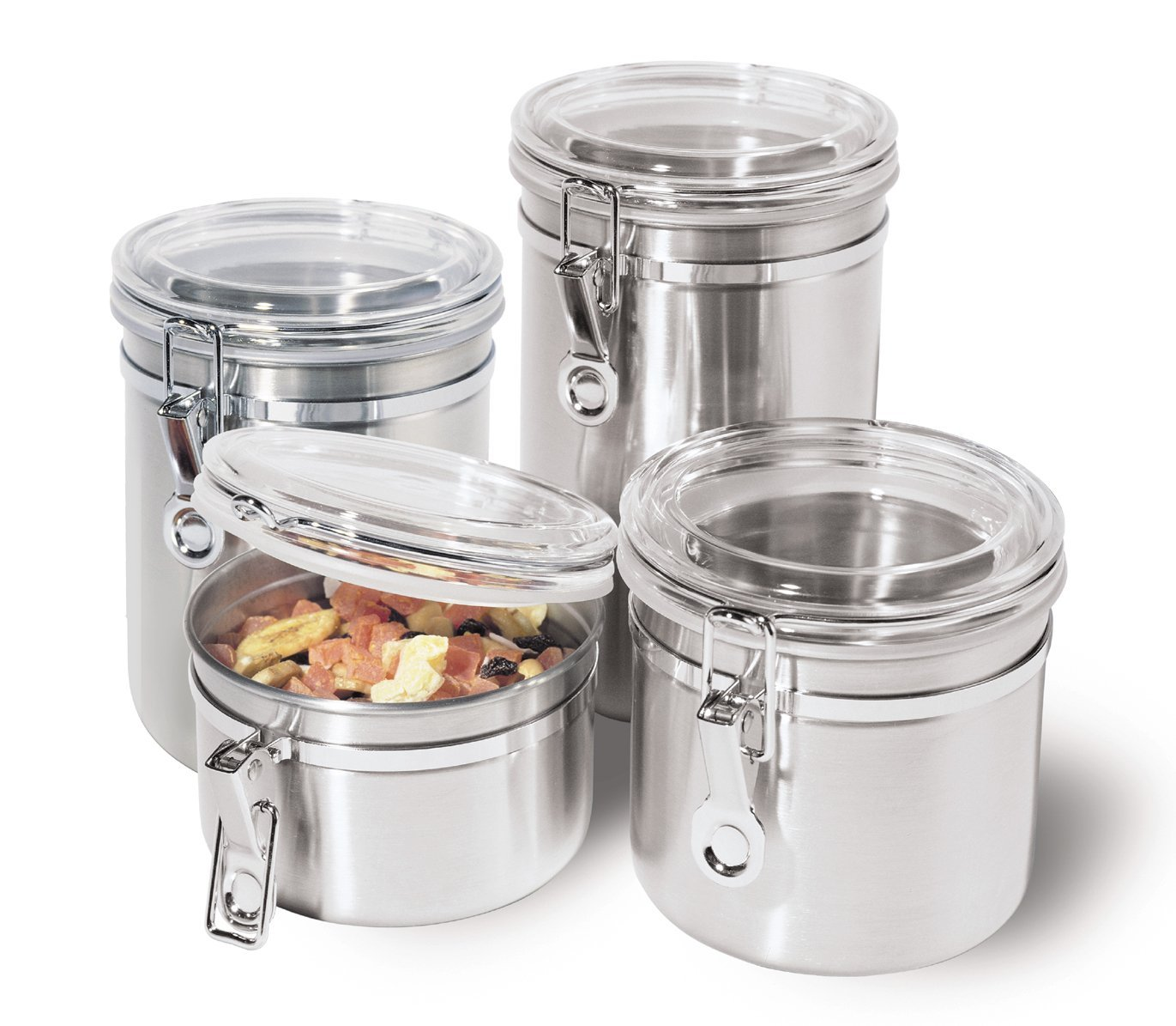Oggi 4 Pc Stainless Steel Canister Jar Container Set w/ Airtight Lid Ideas For Clear Kitchen Canisters on clear canisters in food, clear stools for kitchen, clear canisters with lids, canister sets for kitchen, spray paint a tray for kitchen, clear plastic kitchen canisters, acrylic canister sets kitchen,