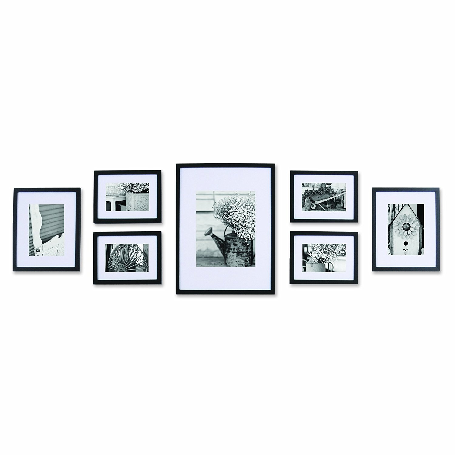 Pinnacle Black 7 PC Solid Wood Picture Wall Frame Kit Art Photos ...