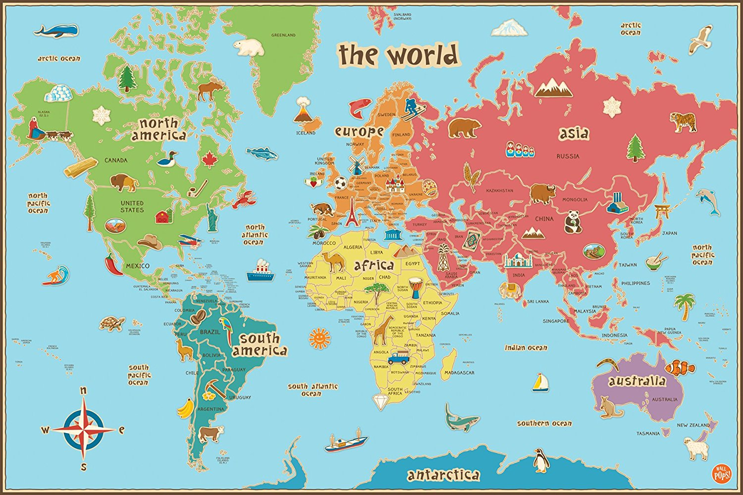 Wall pops wpe0624 kids world dry erase map decal wall decals new product description this world map gumiabroncs Images