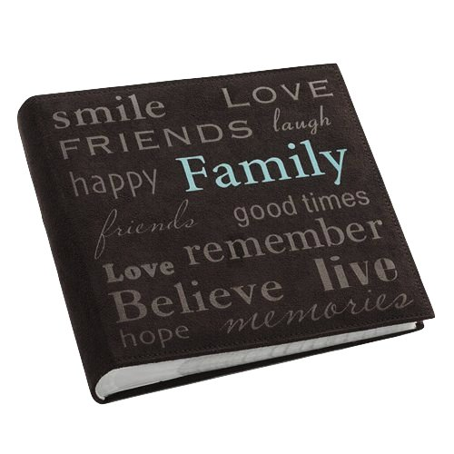 Pioneer Family Text Design Sewn Faux Suede Cover Photo Album