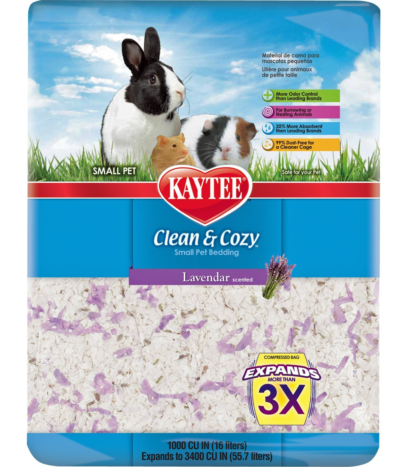 kaytee clean and cozy bedding, lavender, 1000-cubic-inch , new