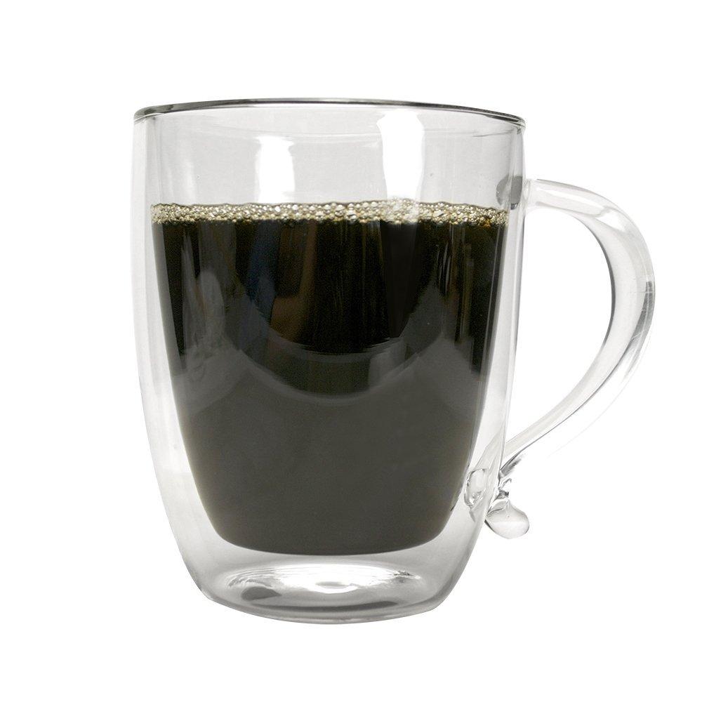 Primula Double Wall Borocilicate 16 Ounce Glass Coffee Mug New