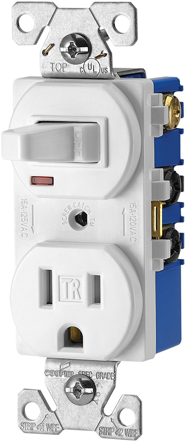 Cooper Wiring Devices TR274W 3-Wire Receptacle Combo Single-Pole ...