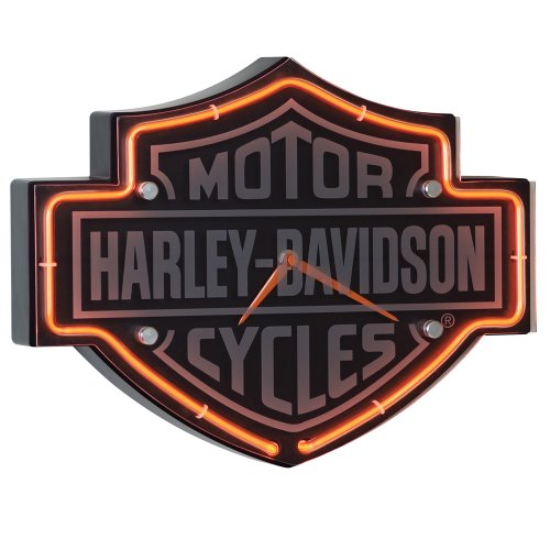 harley davidson etched bar shield shaped neon clock new free rh ebay com