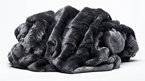 Chanasya Super Soft Cozy Sherpa Fuzzy Fur Warm Dark Gray Black Throw Classy Fuzzy Gray Throw Blanket