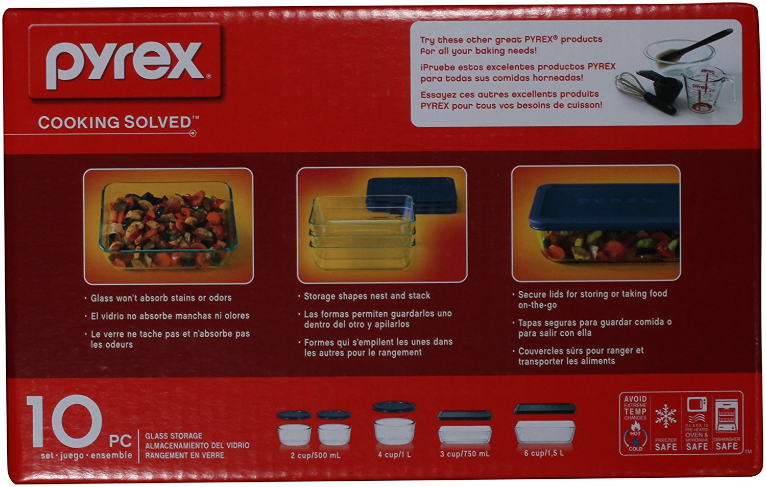 Pyrex storage 10 piece set clear glass blue lids microwave main image biocorpaavc Images