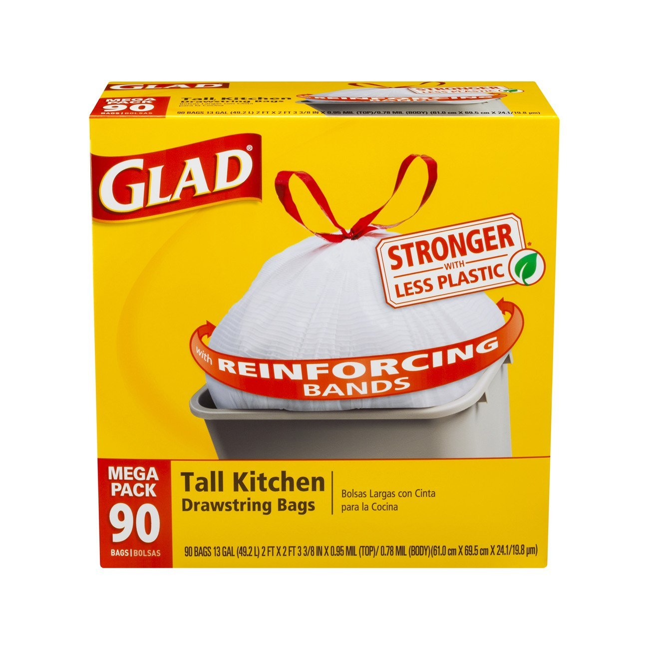 new glad tall kitchen drawstring trash bags 13 gallon 90 count rh ebay com