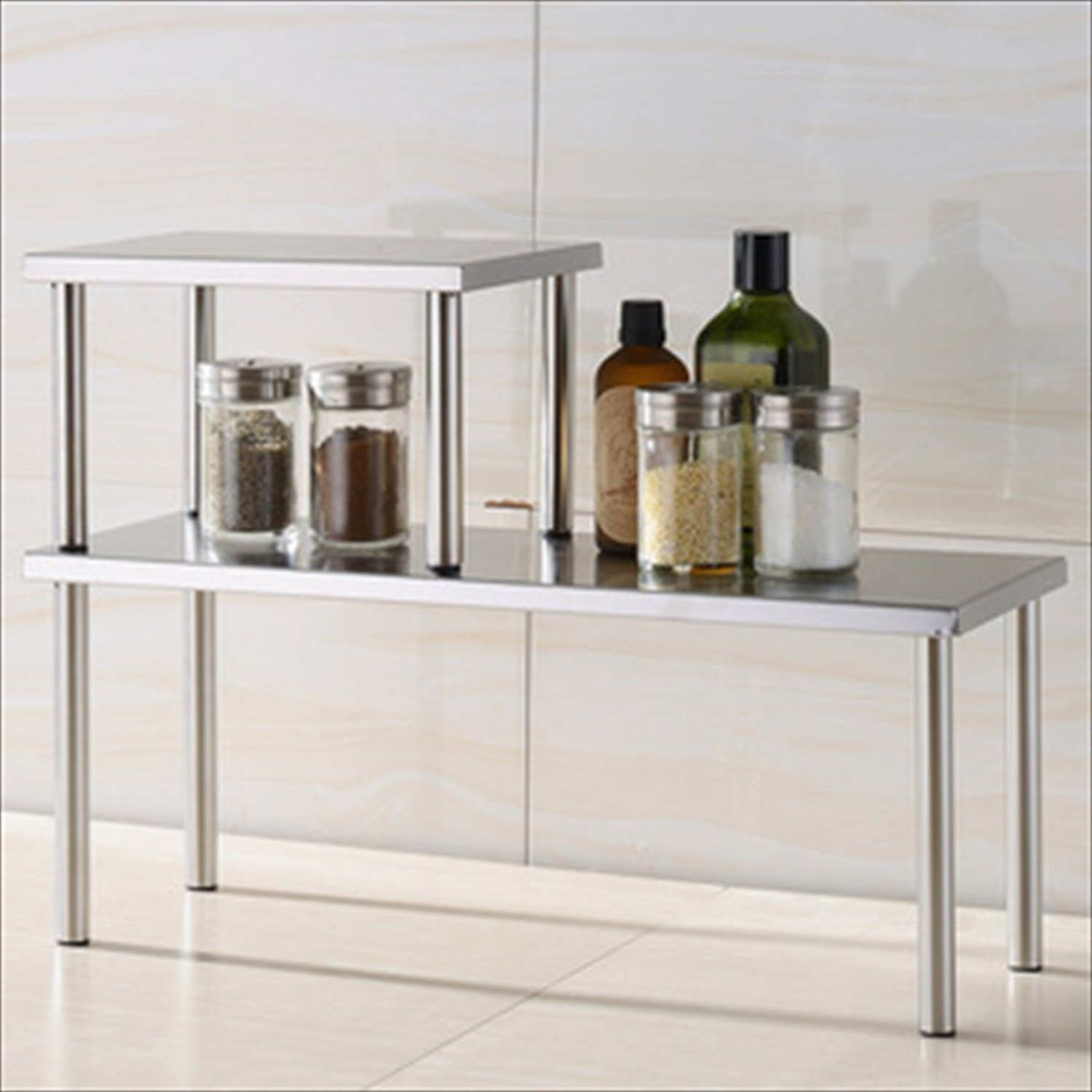 Cook N Home 2-Tier Counter Storage Shelf, Stainless Steel , New ...