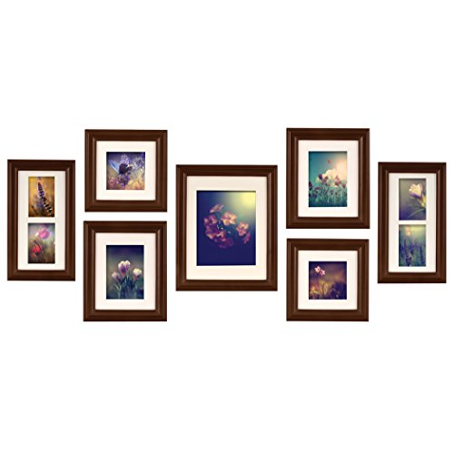 Pinnacle Frames and Accents 7-Piece Photo Frame Set, Walnut , New ...