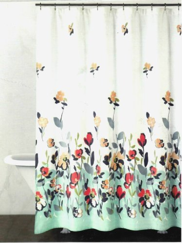 DKNY Watercolor Fields Fabric Shower Curtain In Aqua / Coral, New ...