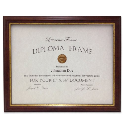 Lawrence Frames 185111 Walnut And Gold Document Picture Frame 11 By