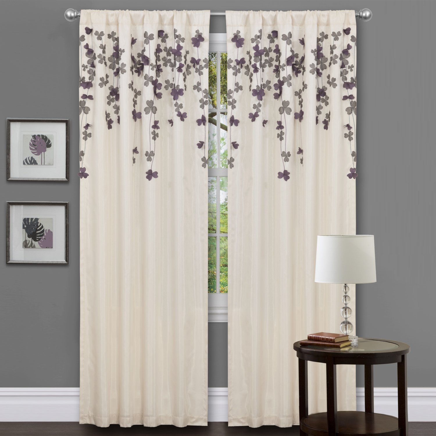 Lush Decor Flower Drop Curtain Panel Purple New Free Shipping