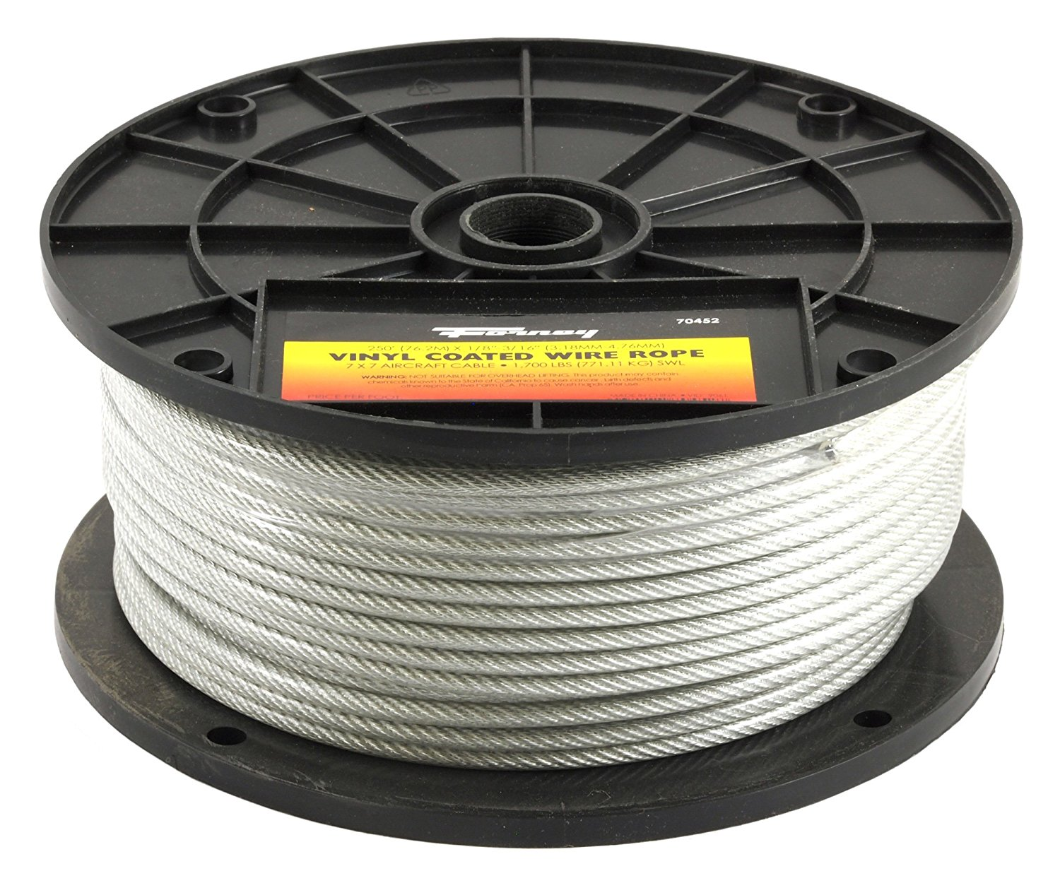 Forney 70452 Wire Rope, Vinyl Coated Aircraft Cable, 250-Feet-by-1/8 ...