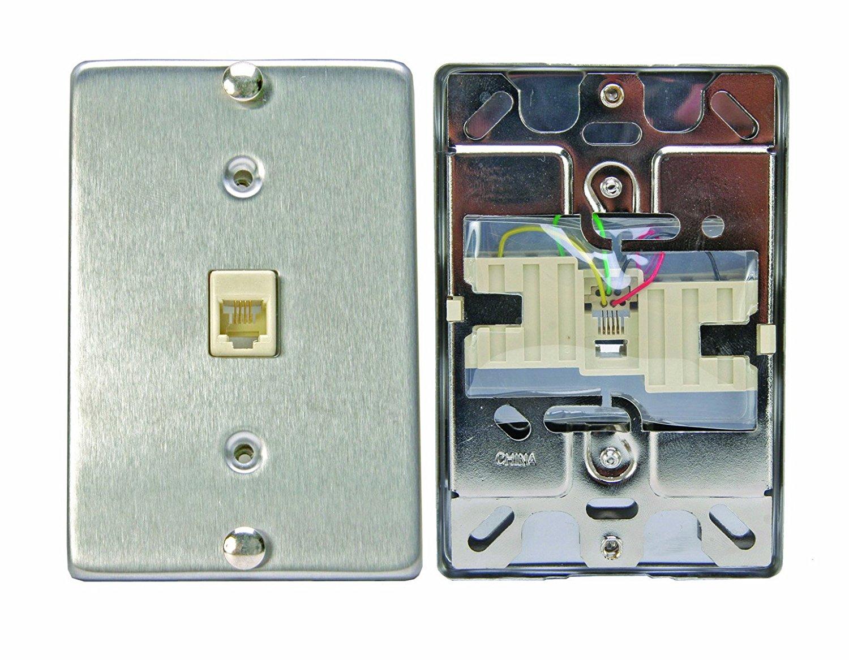 Leviton C0256-SS Telephone Wall Phone Wallplate Surface Mount Jack ...