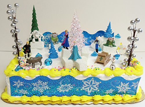Frozen 23 Piece Elsa and Anna Birthday Cake Topper Set Contrasting