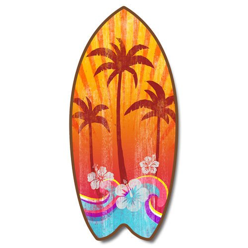 Weathered Tropical Palm Tree Mini Surfboard Plaque With